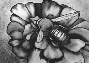 Watercolour painting of a bee on a flower.