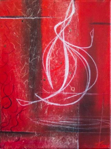 "Mixed media painting ""Chalk Insignia"""