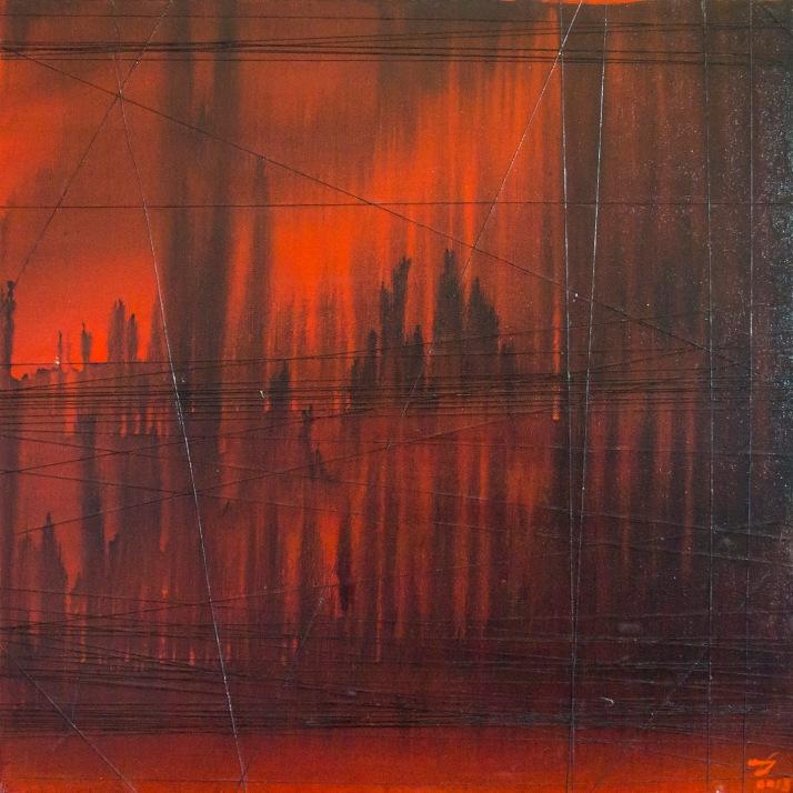 """Mixed media painting """"City"""""""