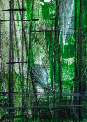 "Mixed media painting ""Constrained Green"""
