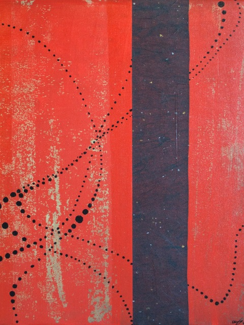Red, black, and gold mixed media painting