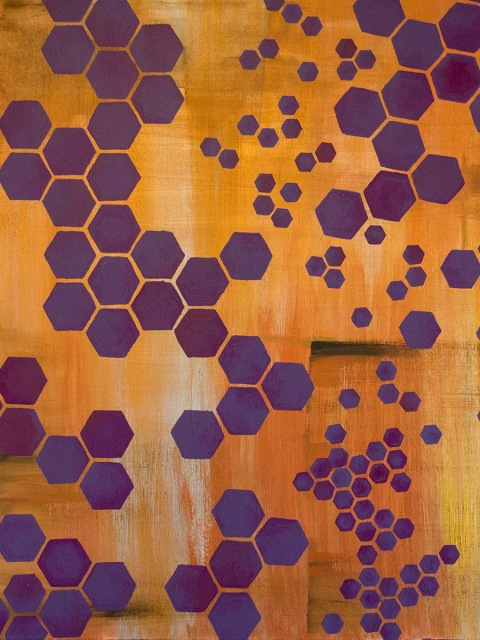 Hexagons acrylic painting