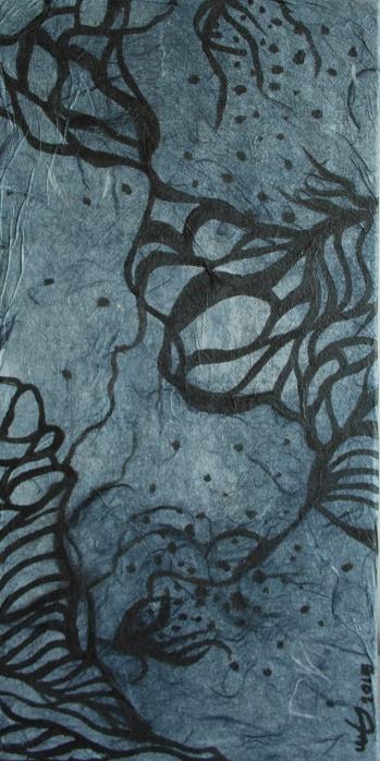 Mixed media black and grey painting