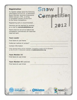 Snow Competition Booklet