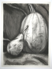 Drawing of a pear and a squash