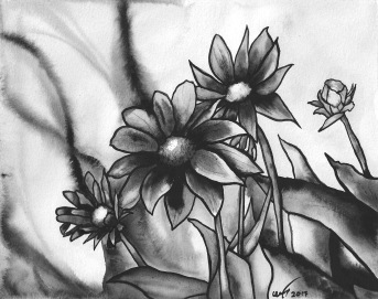 Watercolour painting of daisies