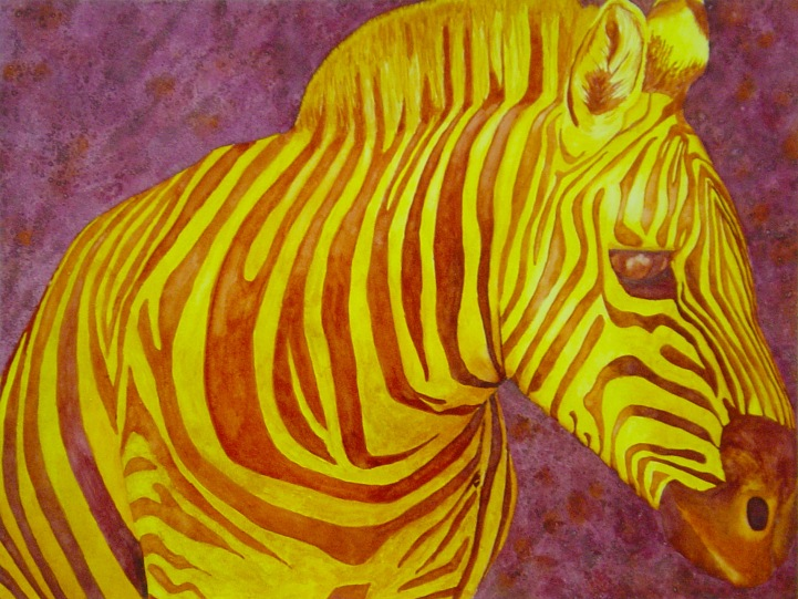 A painting of a brightly coloured Zebra