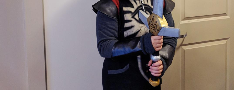 Veronica holding the foam sword