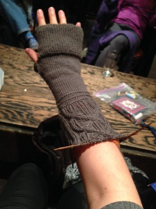 Camp Out Fingerless Mitts - Long Cable Version