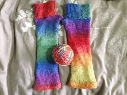 Camp Out Fingerless Mitts - Long Rainbow Version
