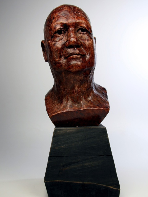 A plaster bust
