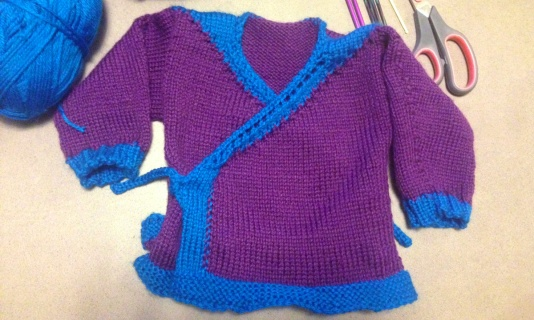 Baby kimono style sweater purple and blue
