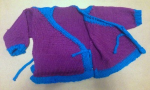 Baby kimono style sweater in purple and blue