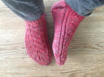 """Pinky"" Socks knitted out of red yarn"