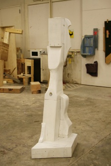 An abstract sculpture in the wood sculpture studio