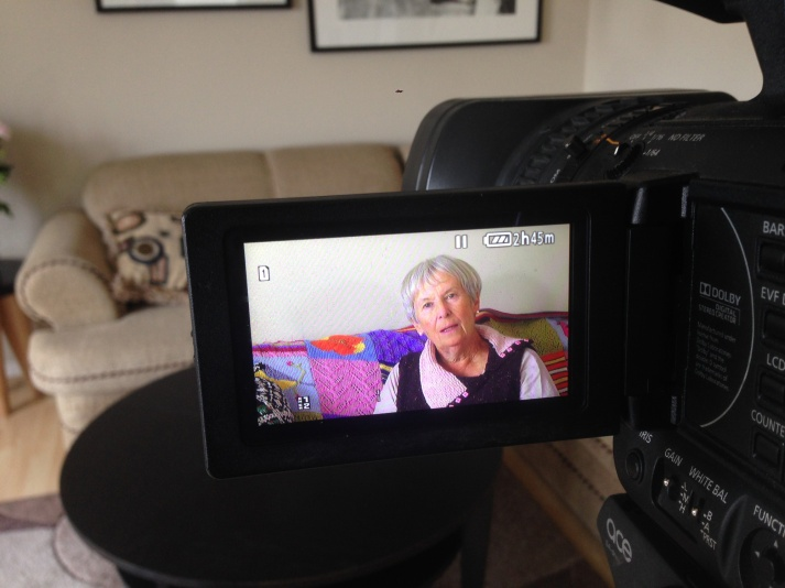 Photo of playback of an interview on the camera monitor