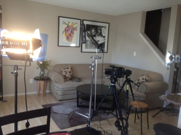 """Filming set-up for most """"Knitters of Edmonton"""" interviews"""