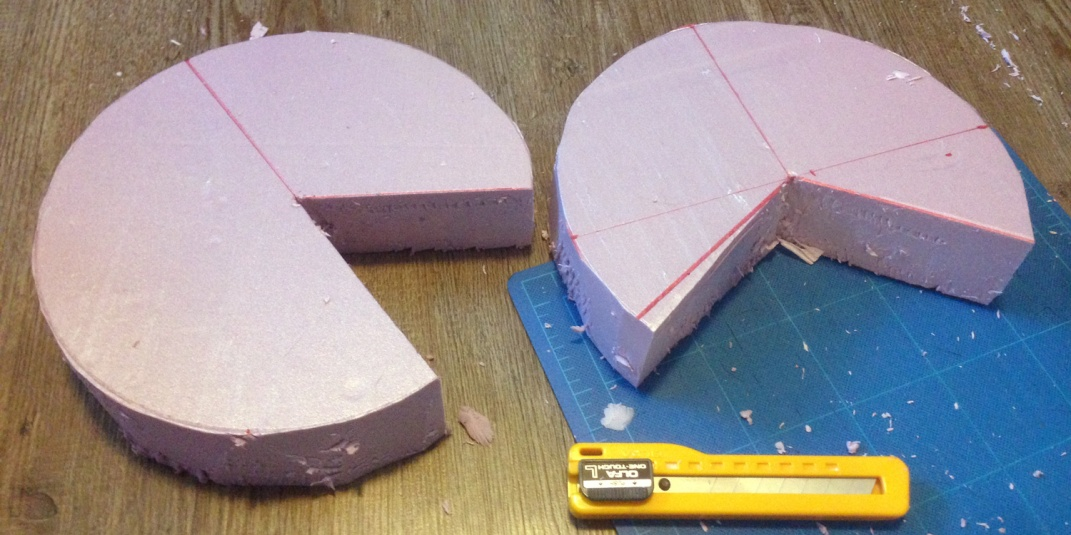 cutting pink foam into pie sized pieces