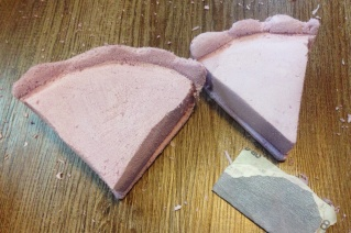Foam pie pieces partially sanded